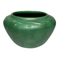 Hampshire Pottery, Matte Green Snake Basket Form, Arts & Crafts Scroll Design