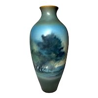 Rookwood Pottery, Tall Decorated Scenic Landscape Vase by Fred Rothenbusch, Nice