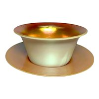 Steuben, Calcite Dessert Cup and Under Plate, Gold Aurene on Calcite White