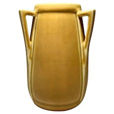 Rookwood Pottery, Buttressed 3 Handled Yellow Vase, Arts & Crafts Shape, Nice