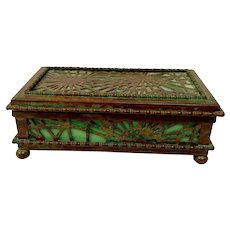 Tiffany Studios, Pine Needle Stamp Box, Green Glass, Patina, Early Beaded Border