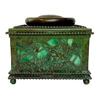 "Tiffany Studios, Grapevine 4"" Beaded Inkwell, Green Glass, Green Brown Patina"