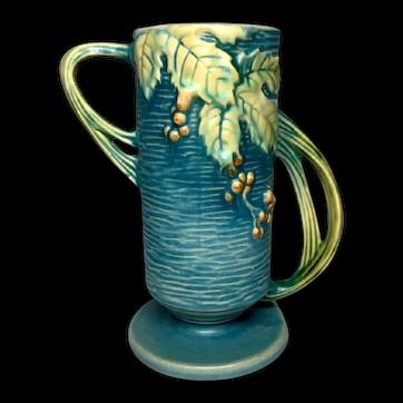Roseville Pottery, Bushberry, Blue Double Twig Radical Handled Vase, Nice