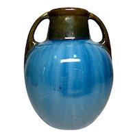 Fulper Pottery, Chinese Blue Flame', Double Handled Swollen Vase, Very Nice