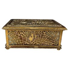 Tiffany Studios, Pine Needle Jewelry Box, Gold Patina Complete w Trays, Excellent