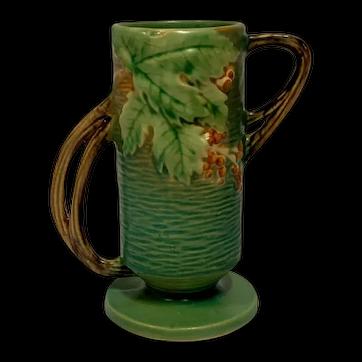 Roseville Pottery, Bushberry, Green Double Twig Radical Handled Vase, Nice