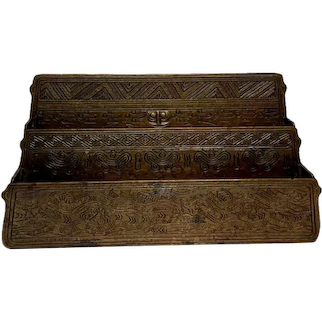 Tiffany Studios, American Indian, Letter Rack, 3 Tier 2 Compartment, Aged Dore'