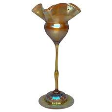 Tiffany Gold Favrile, Tall Stemmed Floriform Vase, Domed Foot, Excellent