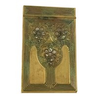 Tiffany Studios, Abalone Note Pad,Gold Patina, Poly Chrome Red Green Accents
