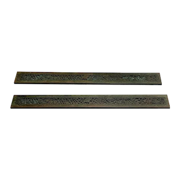 Tiffany Studios, Pine Needle Large Blotter Ends, Very Nice Green Brown Patina