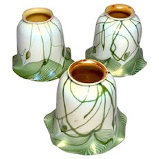 Steuben Heart Vine and Feathers Art Glass Lighting Shades Matching Set of 3, Nice