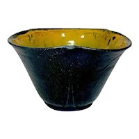 Grueby Pottery, Matte Curdled Blue, Arts & Crafts, Tri-Fold Flared Lobed Vase