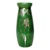Heintz Metalware, Tall Iris Silver Overlay Vase, Mottled Green Patina, Nice Form