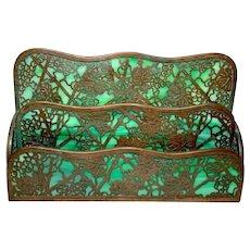 Tiffany Studios, Grapevine 3 Tier 2 Compartment Letter Rack, Green Glass, Patina