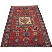Antique Kazak or Karabagh Prayer Design Oriental Rug , SW Caucasus circa 1900 , 6.3 x 4.2