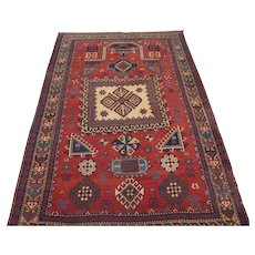 Antique Kazak or Karabagh Prayer Design Oriental Rug  6.3 x 4.2 , SW Caucasus circa 1900