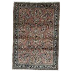 Vintage Sarouk Oriental Rug 4.11x3.4 , Central Persia 1930's