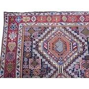 Antique Shirvan Gallery Carpet , Eastern Caucasus circa 1900 , 11.11 x 5.7