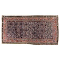 Antique Ferahan Gallery Carpet 12.9 x 6.6 , Arak Province , West Central Persia circa 1875