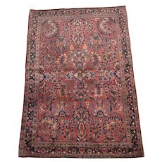 Sarouk Scatter Oriental Rug , West Central Persia , Arak Province circa 1920's , 4.10 x 3.3