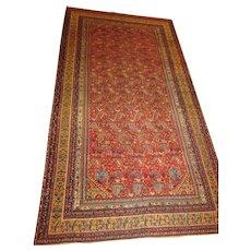 Antique Malayer-Hamadan Kurdish Oriental Rug ,  Corridor Carpet,Western Persia , 12.8 x 6.8.Dated in four places  131__  1892