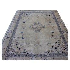 Peking Chinese Carpet , Oriental Rug , Northeast China circa 1920 , 12.4 x 9.11