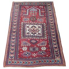 Antique Kazak Prayer Rug,Southwest Caucasus,Dated 1330 = 1913 , 5.5 x 3.7