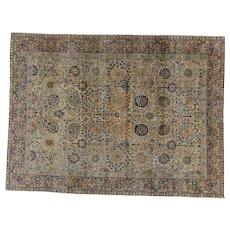 Persian Tabriz Carpet , Oriental Rug , Azerbaijan Province , Northwest Persia circa 1920's , 11.3 x 8.5