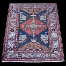 Antique Heriz Scatter Oriental Rug , Azerbaijan Province , NW Persia circa 1900 , 3.7 x 4.4 - Red Tag Sale Item