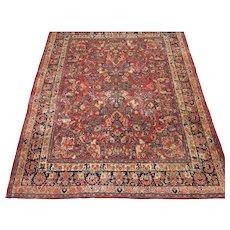 Vintage Persian Sarouk Carpet , Oriental Rug circa 1930 , 9.10 x 8.2