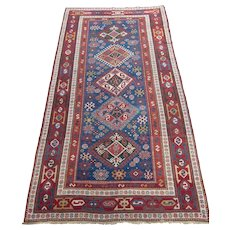 Antique Kazak Oriental Rug  , Southwest Caucasian , Last Quarter 19th Century , 9.7 x 4.11