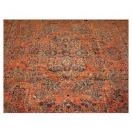 Persian handmade Sarouk Carpet , Oriental Rug, circa 1920 , 11.10 x 8.10