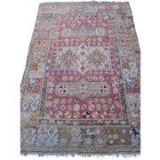 Antique Turkish Oriental Rug , probably Oushak , Western Anatolia circa 1900 , 6x4