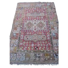 Antique Turkish Oriental Rug , probably Oushak , Western Anatolia circa 1900 , 6x4