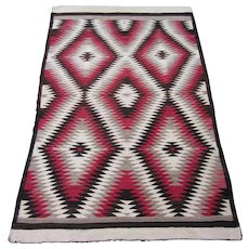Navajo Rug , Tapestry Woven , American Southwest circa 1920 , 6.3 x 4