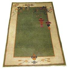 Chinese Art Deco Oriental Rug , Tientsin ( Tianjin ) ,Northeast China circa 1930 , 5.10 x 4.1