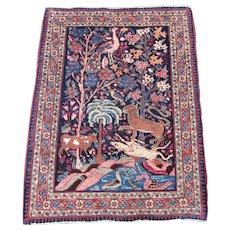 Antique Tabriz Pictorial Mat,Oriental Rug , Azerbaijan Province , Northwest Persia , 1st quarter 20th Century , 3 x 2.3