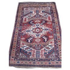 Antique Kazak Oriental Rug , S.W.  Caucusas , Last Quarter Of 19th Century , 7.2 x 4.5