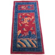 Chinese Art Deco Oriental Rug , Northeast China 1920's , 4.10 x 2.6