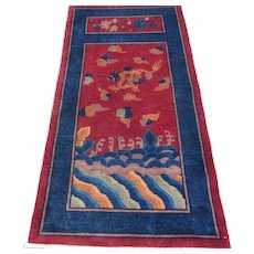 Chinese Art Deco Oriental Rug , Northeast China 1920's , 5.9 x 2.11