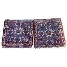 Antique Khamseh Basiri Saddlebag Faces , Fars province , SW Persia , Early 20th Century , 2.5 x 2  And  2.2 x 2