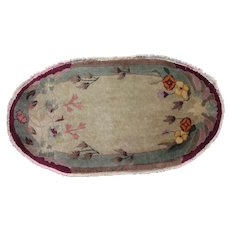 Chinese Art Deco Oval Oriental Rug , Northeast China , 1920's , 3.10 x2