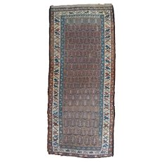 Antique Kurdish Hamadan Long Oriental Rug , Hamadan Area , West Persia circa 1900 , 8.6 x 3.8