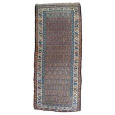 Antique Kurdish Hamadan Long Oriental Rug , Hamadan Area , West Persia circa 1900 , 8.6 x 3.8