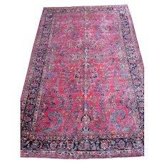 Sarouk Small Carpet , Oriental Rug , Arak Province , West Central Persia 1920's , 9.7 x 6.1