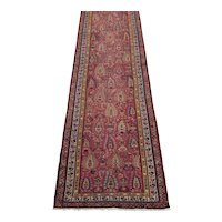 Antique Northwest Persian Runner 12.8x3.1 ,  Oriental Rug  circa 1900