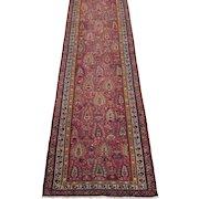 Antique Northwest Persian Runner Oriental Rug circa 1900 , 12.8 x 3.1