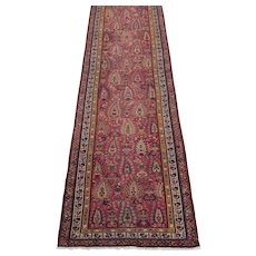 Antique Northwest Persian Runner Oriental Rug circa 1900 , 12.8 x 3.1