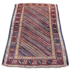 Antique Kurdish Oriental Rug , Kurdistan , West Persia , Last Quarter 19th Century , 7.5 x 5.1