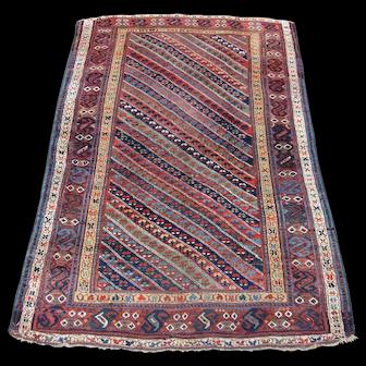 Antique Kurdish Oriental Rug , Kurdistan , West Persia , Last Quarter 19th Century , 7.5 x 5.1